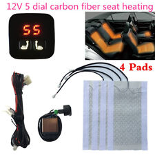 2 Seats 5 Level Digital Display Switch Carbon Fiber Car Seat Heater Heated Pads