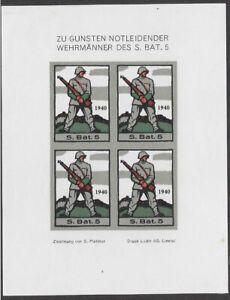 Switzerland Soldier stamp: Infantry, INF #49b IMP Sleeve Variety: S.Bat.5- ow565