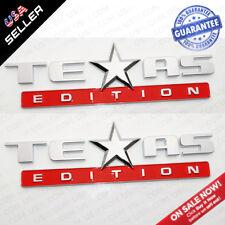 2x Chrome Red TEXAS Edition Logo Emblem Badge Stickers Chevrolet Decoration TEAS