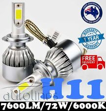 H11 72W 7600LM LED White 6000k Halogen Car Headlight Xenon Globe Bulb Kit HID