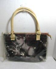 FASHION Handbag Featuring Penelope Cruz Vinyl Zipper Close Black & White Purse