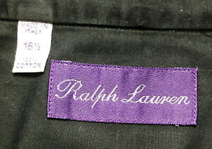 Ralph Lauren Purple Label RLPL 16.5 Black 100% Cotton Long Sleeve Italy