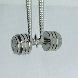 Stainless Steel Polished Dumbbell Barbell Necklace Men's Ladies fitness weights