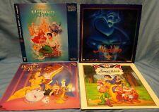 Lot of 4 Disney Laserdiscs Little Mermaid, Aladdin, Snow White, Beauty and Beast
