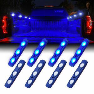 Xprite 8 Pods Trucks Bed Rock Lights Blue Underglow LED Kit Neon Light Strips
