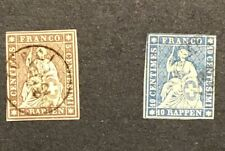 Switzerland 1855-62 Sc#. 25,27 VF Used (W1)