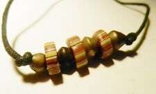 African Trade Bead-Ethiopian Lost Wax Bronze Bicone Beads-Hippie Leather Choker