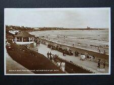 Northumberland NEWBIGGIN BY SEA Beach & Promenade c1911 RP Postcard by Valentine