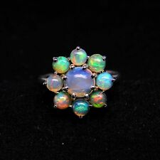 925 Sterling Silver Natural Multi Gemstone Women Beautiful Floral Rings For Gift