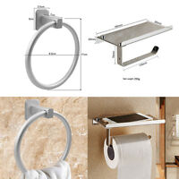 Chrome Square Bathroom Toilet Roll Holder & Towel Ring Set-Fittings Included UK