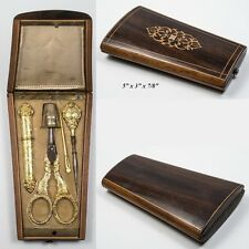 Antique French Sewing Set, Marquetry Etui, Sterling Silver Vermeil Tools, 1870s