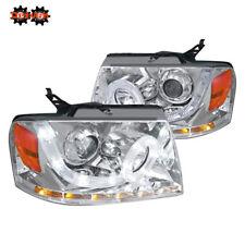 04-08 Ford F150 Harley Lighting Mark Chrome Projector Round Halo LED Headlights