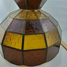 """1960""""s Vintage VINTAGE LEADED STAINED GLASS LAMP LIGHT SHADE with CROWN 15.5"""""""