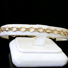 """11"""" Ladies 5mm FANCY OPEN CURB Link 14K GOLD EP Anklet   WEDDING ANKLE JEWELRY"""