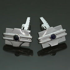 Modern 18k White Gold Blue Sapphire Rectangular Cufflinks