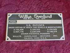 Willys Overland Daten Platte Säure Geätzte Aluminium