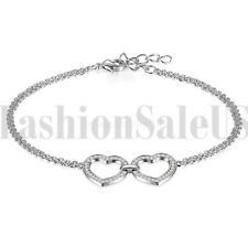 925 Sterling Silver Women's Ladies Double Love Heart CZ Bangle Bracelet Chain