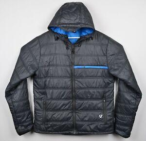 Bontrager Trek Men's XL Amundsen Jacket Gray Blue Hooded Cycling Puffer Jacket