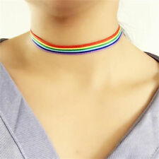 Lesbian Ribbon LGBT Choker Necklace Clavicle Gay Pride Rainbow Chunky Statement