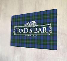 Dads Bar Fathers day white beer label Scottish pub bar Tartan sign A4 metal sign
