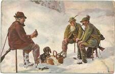 Dogs, Hunters with a Dachshund and a Food Basket in the Snow, Old Postcard