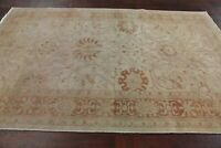 Vegetable Dye Muted Antique Oushak Turkish Area Rug Beige All-over Hand-made 6x9
