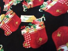 72 x 25 inches plus extra,christmas stocking fabric with presents, red and black