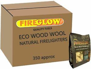 Fireglow Natural Firelighters Long Burning Wax Wood Wool Fires BBQ Fuel x 15