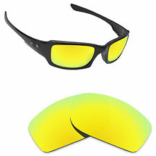 Hawkry Polarized Replacement Lense for-Oakley Fives Squared Sunglass 24K Golden