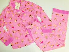 NWT Munki Munki 2pc Pajamas Shirt Pants Set Pink Whimiscal Reindeer Dogs Large