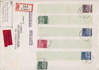 Bund Mi Nr. 506  - 510 Rollenenden MiF R- Express Brief, Aachen - Pasewalk 1968