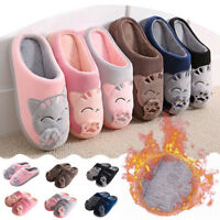 Women Men Winter Warm Home Slippers Cartoon Cat Non-slip Indoors Floor Shoes
