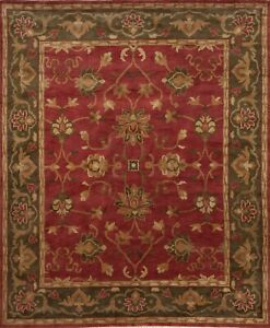 Pottery Barn Dariya Hand Knotted Red Green Tibetan Wool Rug 9' x 12'