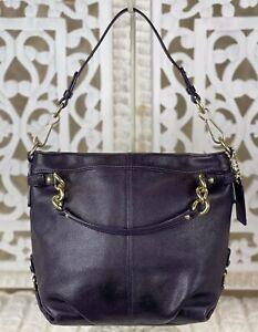 COACH 14142 BROOKE Dark Purple Pebbled Leather Medium Hobo Shoulder Bag Purse