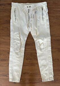 Diesel Leather Pants Men Off Cream Size 32 Pumay Trouser