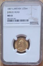 More details for 1887 gold victoria jubilee head half sovereign shield ngc - ms61