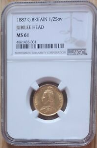 1887 Gold Victoria Jubilee Head Half Sovereign Shield NGC - MS61