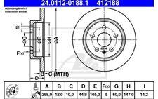 ATE Juego de 2 discos freno 268mm para RENAULT CLIO SEAT LEON AUDI A5