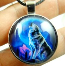 Vintage Wolf Howling double-sided Tibetan silver Glass Chain Pendant Necklace K1