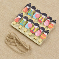 Japanese Doll Wooden Clip DIY Cute Craft Party Decor Paper Pin Office Supplies