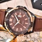 XINEW Luxury Men's Aviator Automatic Mechanical Date Leather Strap Wrist Watch