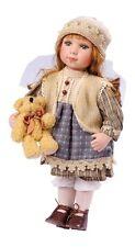 Bambola in ceramica porcellana Denise cm 30 con peluche orso orsetto