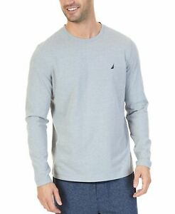 $69 Nautica Men's Pajama PJ Long Sleeve Shirt Gray Logo Lounge Sleepwear Size L