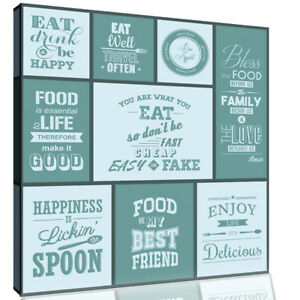 Duck Egg Blue Kitchen Quotes Collage Canvas Wall Art Picture Print
