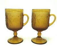 Tiara Indiana Glass Amber Sandwich Footed Set Of 2 Cups Mug