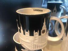 Starbucks London Relief Mug Black Big Ben Tower Bridge St Paul Cathedral England