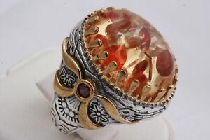 Goog Turkish Handmade 925 Sterling Silver Amber Stone Mens Ring Size 10