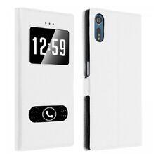 Funda Con Tapa Lámina Ventana Blanco Interior Silicona para Sony Xperia XA 1