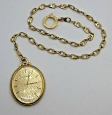 Watch w/ Guilloche Dial & Watch Chain 18k Jaeger - Le Coultre Oval Shaped Pocket