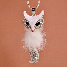 Lovely Cute Fox Pendant Rhinestone Crystal Fur Ball Necklace Sweater Chain Co